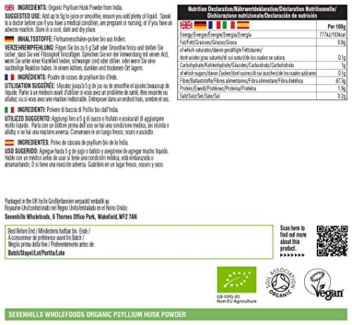 Sevenhills Wholefoods Organic Raw Psyllium Husk Powder 1kg