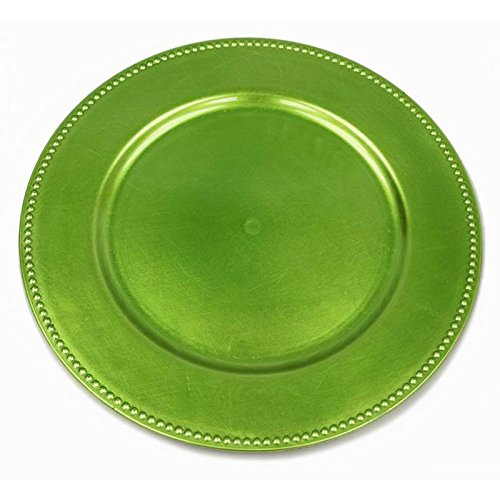 BalsaCircle 6 pcs 13-Inch Lime Green Crystal Beaded Round Charger Plates - Dinner Wedding Supplies for all Holidays Decorations