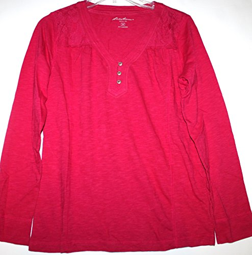 Eddie Bauer Women's V Neck Henley Knit Top w/ Lace Inset Shoulders (M, Fuchsia Pink) (Bauer Lace)