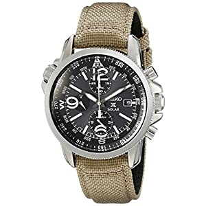 Seiko Prospex Smoke Dial SS Tan Textile Chronograph Quartz Men's Watch SSC293