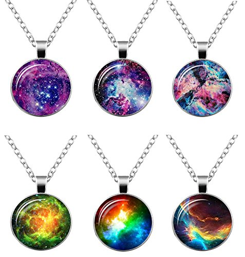 6 Pcs Womens Mens Galaxy Universe Astronomy World Pendant Chain Necklace for Women Fashion Jewelry