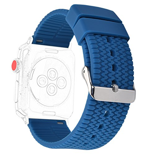 - XiangMi Replacement Band for Apple Watch Series 3 Series 2 Series 1,Silicone Sport Tire Tread Design Wristband Strap Bracelet Bands for iwatch 42mm Blue