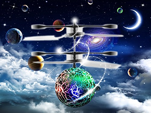 Slepwel RC Flying Ball Helicopter, Infrared Induction Flying Toys Built-in Rainbow Shinning LED Lighting for Boys and Girls, Teenagers Colorful Flyings for Kids Toy