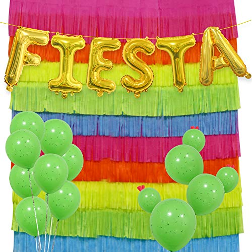 Fiesta Party Decorations Set, 16 INCH Fiesta Mylar Letter Balloons Cinco De Mayo Mexican Festival Paper Fringe Garland Photography Background Cactus Latex Balloons for Party Supplies]()