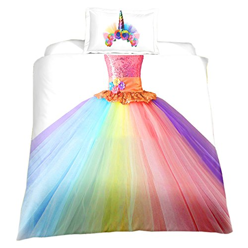 KTLRR Children's Bedding Set,Rainbow Unicorn Princess Dress for Girls Duvet Cover with Pillowcase,Kids Birthday Gift Home Bedroom Decoration,Microfiber,No Comforter, US Twin 2pcs
