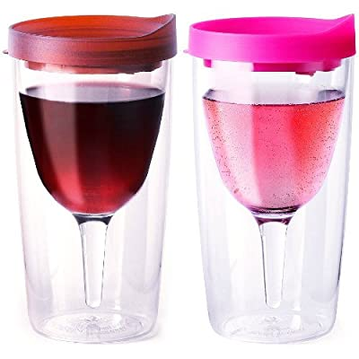 Vino2Go Merlot Insulated Wine Tumbler With Drink Through Lid, 10 Ounce