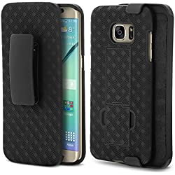 Galaxy S7 Edge Case, Aduro Shell & Holster COMBO Case Super Slim Shell Case w/ Built-In Kickstand + Swivel Belt Clip Holster for Samsung Galaxy S7 Edge