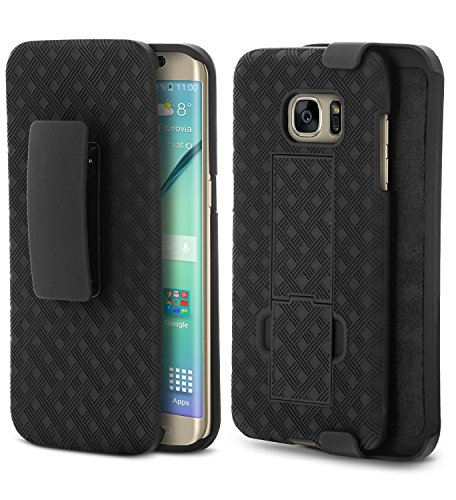 Galaxy S7 Edge Case (ONLY), Aduro Shell & Holster COMBO Case Super Slim Shell Case w/Built-In Kickstand + Swivel Belt Clip Holster for Samsung Galaxy S7 Edge