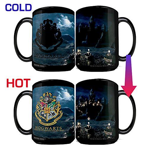 Morphing Mugs Harry Potter Hogwarts School for Witchcraft and Wizardry with Crest Heat Reveal Clue Ceramic Coffee Mug - 15 Ounces (Harry Potter Hogwarts School)