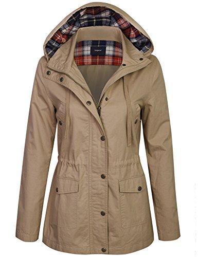 KOGMO Womens Zip up Anorak Safari Jacket with Checker Lining Hoodie-M-Taupe