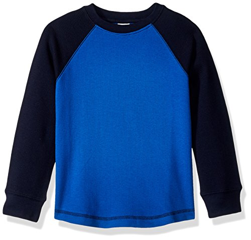 Gymboree Boys' Toddler' Long Sleeve Colorblock Waffle Tee, Blue Color Block, 5T