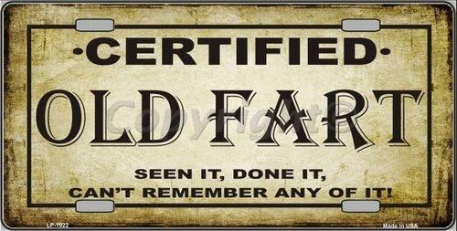 Smart Blonde LP-1922 Certified Old Fart Metal Novelty License Plate