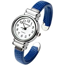 Top Plaza Kids Girls Casual Chic Simple Arabic Numeral Bangle Cuff Watch for Small Wrist,Thanksgiving Christmas Xmas Gift,Blue