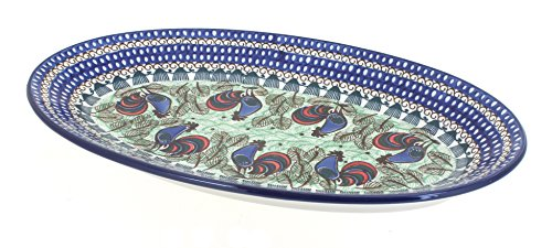 Blue Rose Polish Pottery Rooster Row Large Oval Platter