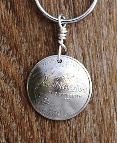 Washington State Keychain, Domed Coin, U.S. Quarter, Mt. Rainier Key Ring, 2007