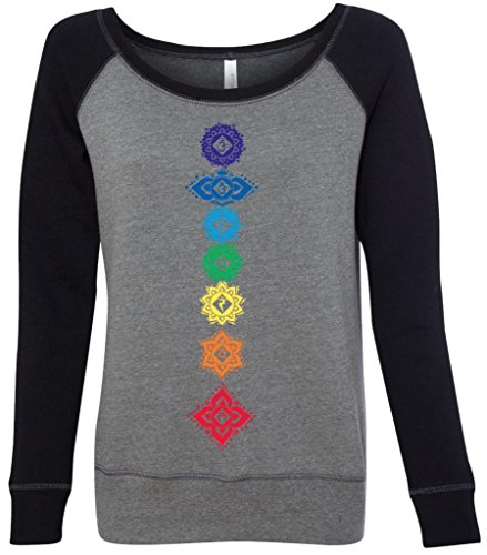 Yoga Clothing For You Ladies Floral Chakras Wide Neck Sweatshirt, Large Deep Heather/Black For Sale