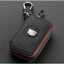 Amooca Car Smart Key Chain Leather Holder Cover Case Fob Remote For Cadillac