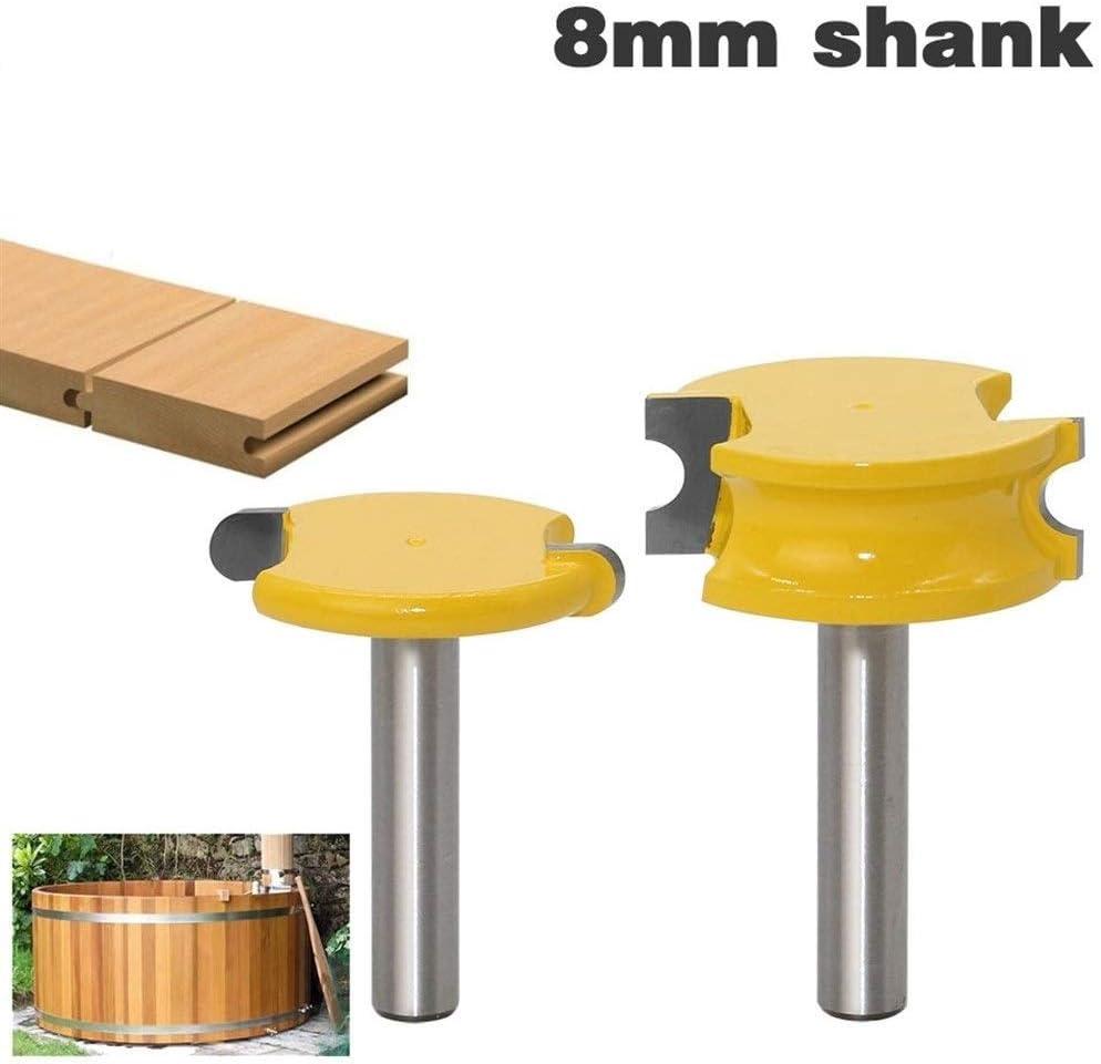 Router Bit Shank 2 pi/èces Shank Canoe Fl/ûte traversi/ère et perles Toupie Set bois tungst/ène cobalt en alliage bois Tenon Fraise Bits Outils