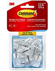 Command Wire Hooks Value Pack, Small, Clear, 9 Hooks 12 Small Strips