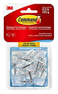 Command Small Clear Utensil Hook Value Pack, 0.5 lb Capacity, 9 Hooks 12 Small Strips, (17067CLRC-VP)