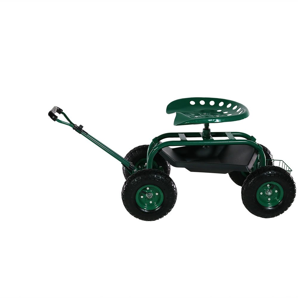 Sunnydaze Garden Cart Rolling Scooter with Extendable Steering Handle, Swivel Seat & Utility Basket, Green by Sunnydaze Decor (Image #3)