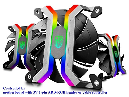 DEEP COOL MF120S 3x120mm PWM Case Fans Radiator Fans, Motherboard Control and Wired Controller Supported, 5V 3-pin Addressable RGB, 5-Port RGB Hub Included