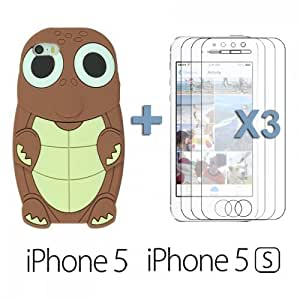OnlineBestDigital - Turtle Style 3D Silicone Case for Apple iPhone 5S / Apple iPhone 5 - Brown with 3 Screen Protectors