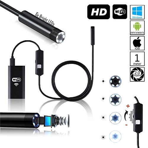 Indigi Waterproof Wi-Fi HD Borescope Inspection Endoscope Snake Cam - iOS & Android Compatible - 1 Meter - 6 LEDs - Black
