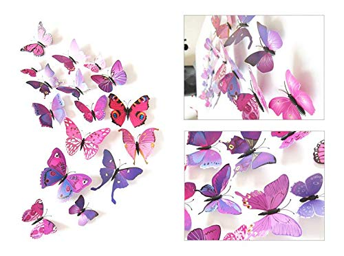 Random Cat Rikka 48 PCS 3D Simulation Color Butterfly Stereo Wall Stickers Decoration Living Room Bedroom TV Wall Background Decorative Stickers