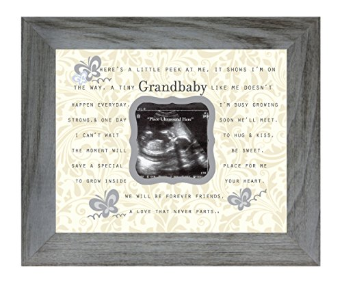 Grandbaby Poem 8 x 10 Inch Distressed Gray Picture Frame, Holds 3