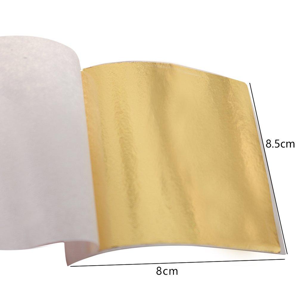 500 Sheets Taiwan Shiny Imitation Gold Leaf Gilding Foil Sheet Color Like 24K Gold