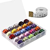 Paxcoo 25 Pcs Bobbins and Sewing Thread with Case and Soft Measuring Tape for Brother Singer Babylock Janome Kenmore (Assorted Colors)