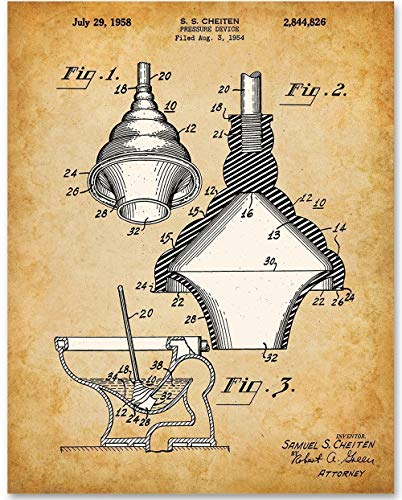 (Toilet Plunger - 11x14 Unframed Patent Print - Great Bathroom)