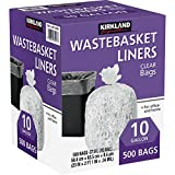 500-Count Of 10 Gallon Kirkland Signature Clear Wastebasket Liner For Office And Home, Made In USA