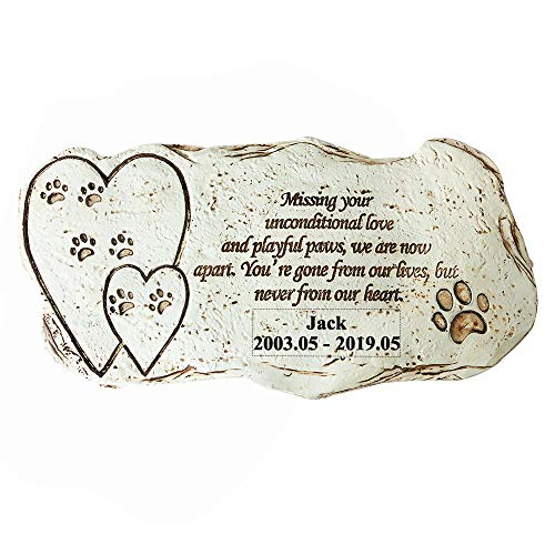 "Aveena Personalized Pet Memorial Stones with Hearts,Customized Dog Memorial Stones Grave Markers,12"" × 6"" from Aveena"