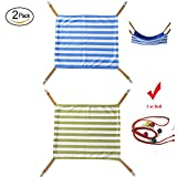 Maysunday Cat Hammock Pet Hanging Bed 2 Sides Used with Cage 2-Pack, Stripes Small Animal Hammock Bed for Rabbit, Ferret, Kitten,Rat (14.5x14.5inch, 2-pack(Blue+Green))