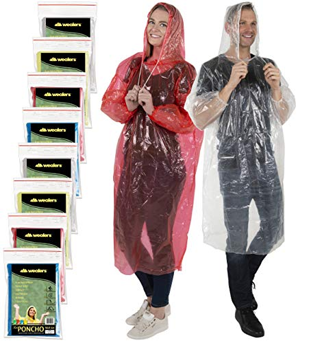 Amusement Park - Wealers Rain Poncho for Adults | Disposable Extra Thick Heavy Duty Emergency Ponchos | for Men Women & Teens | Reusable & Waterproof Hood Strings & Sleeves Outfit for Camping Amusement Parks (8 Pack)
