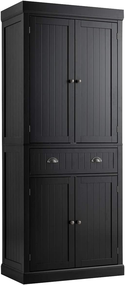 Amazon Com Tangkula 72 H Freestanding Kitchen Pantry Cupboard Cabinet Traditional Elegant Design W Adjustable Shelves 2 Door Floor Utility Storage Cabinet For Living Room Kitchen Hallway Black Kitchen Dining