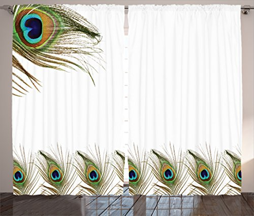 Ambesonne Peacock Decor Collection, Authentic Lined Up Peacock Feathers Symbolizing Guidance for Soul Bohemian Print, Living Room Bedroom Curtain 2 Panels Set, 108 X 84 Inches, Geen White Teal