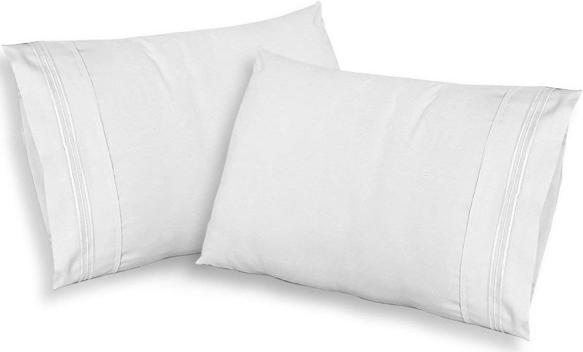 CGK Unlimited White Pillow Cases - King Size Set of 2 - Soft Comfortable - Fits 20x40 20x36 20x48 - Two Pack - Pillow Cover Insert