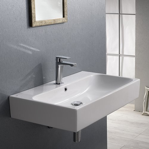 CeraStyle 080000-U-One Hole Pinto Rectangular Ceramic Wall Mounted Vessel Bathroom Sink, White