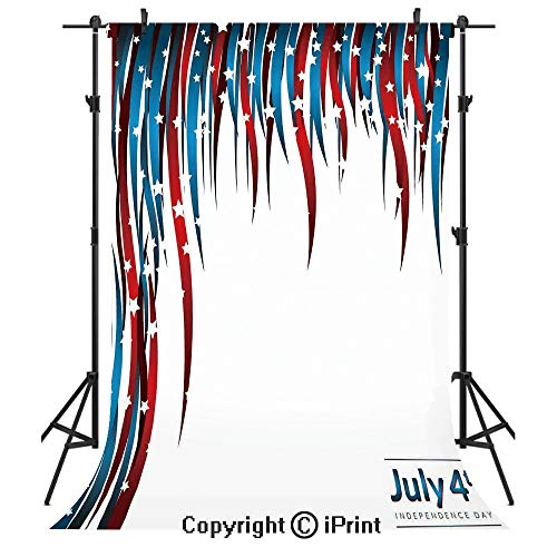 - 4th of July Decor Photography Backdrops,American Love Inspired Heart Shaped Flags Traditional United States Design,Birthday Party Seamless Photo Studio Booth Background Banner 3x5ft,Blue Red