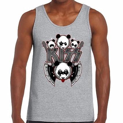 Camisetas Tirantes - diseño Original - Camiseta Tirantes - Panda Kiss Rock Band - S
