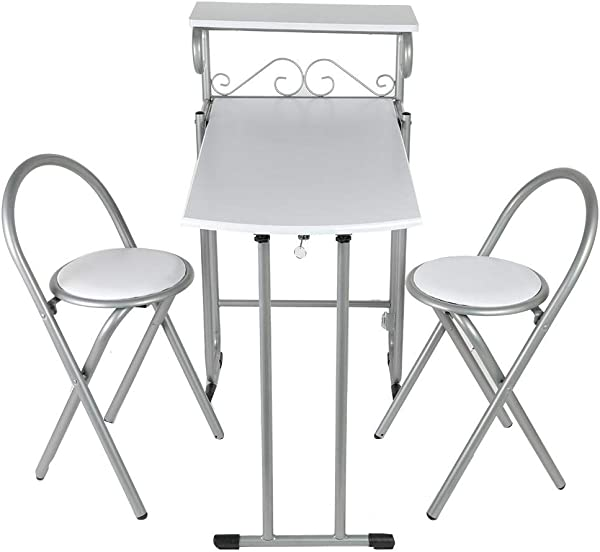 3 Pieces Home Folding Kitchen Table Chairs, Kitchen Table with Storage Shelf, Dining Table Chairs Made of Steel + MDF Material and Smooth Surfaces and Rounded Corners