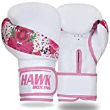 Hawk Boxing Leather Boxing Gloves Ladies Women Pink Flowers GEL Fight Punch Bag MMA Muay thai Kick UFC (16oz)