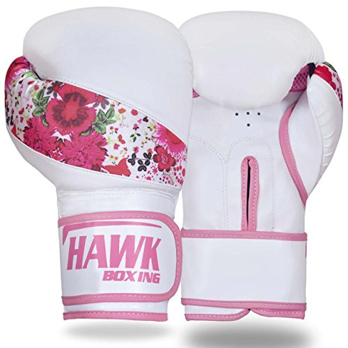 Hawk Pink Boxing Gloves Ladies Women's Flowers Girls Leather Training Gloves Bag Gloves Mitts Muay thai Kick Boxing Gloves (White, 10oz)