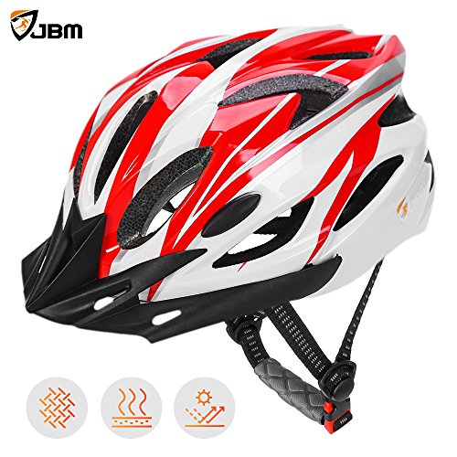 JBM Adult Cycling Bike Helmet Specialized for Men Women Safety Protection CPSC Certified (18 Colors) Black / Red / Blue / Pink / Silver Adjustable Lightweight Helmet with Reflective Stripe and (Bike Helmet Safety)