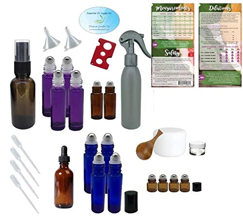 Essential Oil Supply Kit - Purple, Blue, Amber Roller Bottles, Cream Jars, Spray and Dropper Bottles, Funnels, Bottle Cap Remover, Pipettes, Spoon, Dilutions Chart (Deluxe 3)