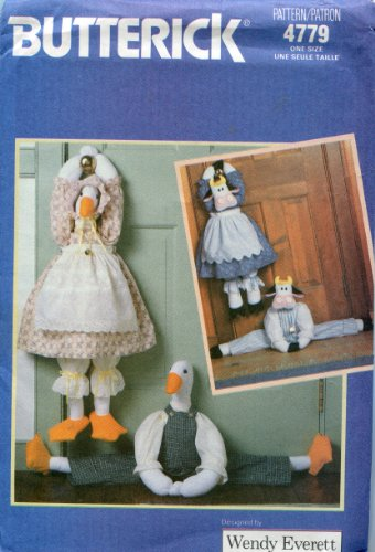 Butterick Craft Pattern 4779 ~ Draft Stop Stuffed Cow and Duck with Country Theme Outfits ~ Designed by Wendy Everett ()