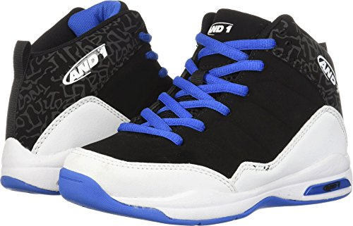 AND1 Boys' Breakout Sneaker, Black/Royal White, 1 M US Little Kid by AND1